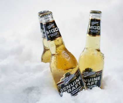 MGB beer bottles in ice.